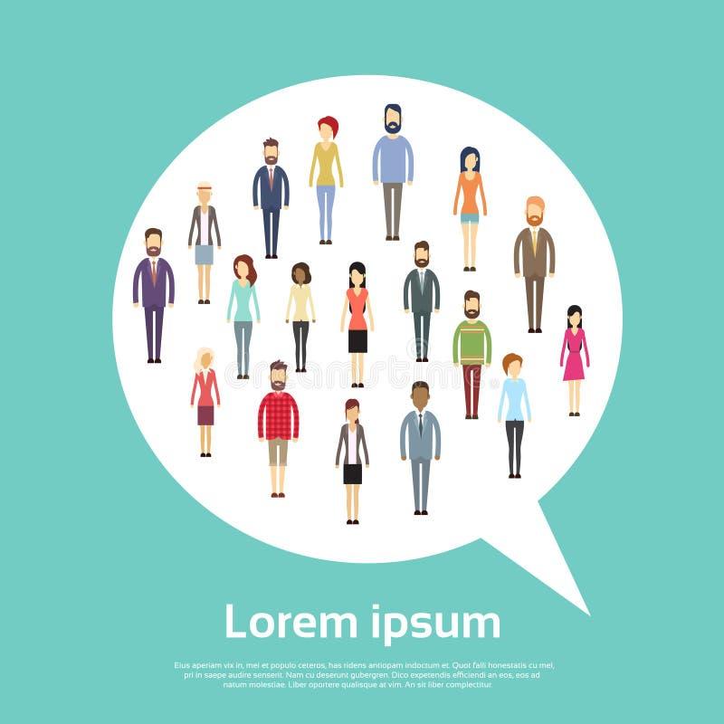 För Shape för bubbla för pratstund för grupp för affärsfolk begrepp kommunikation stock illustrationer