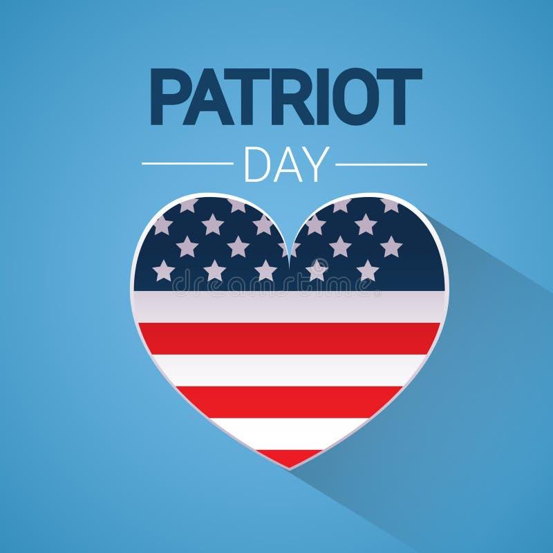 För Shape för Förenta staternaflaggahjärta för USA medborgare baner för dag patriot stock illustrationer
