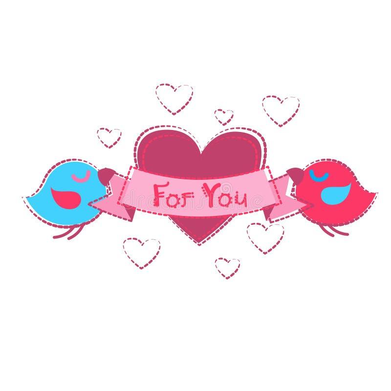 För Shape för hjärta för fågelpar hållande kort hälsning Valentine Day vektor illustrationer