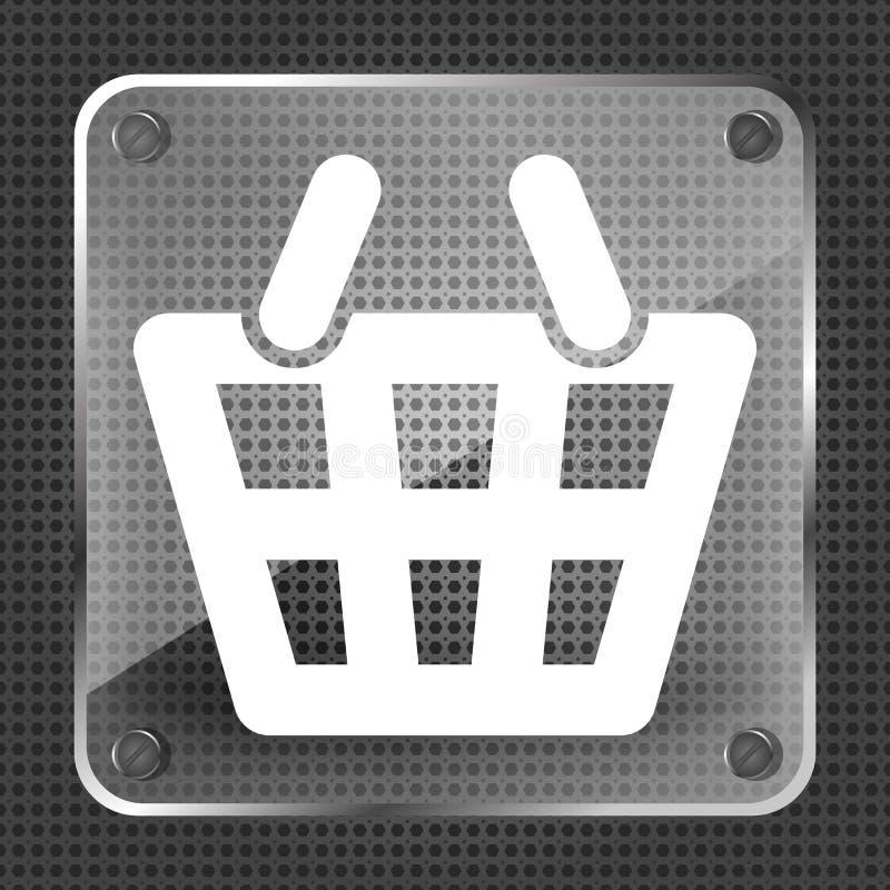 För shoppingkorg för exponeringsglas plan pictogram vektor illustrationer