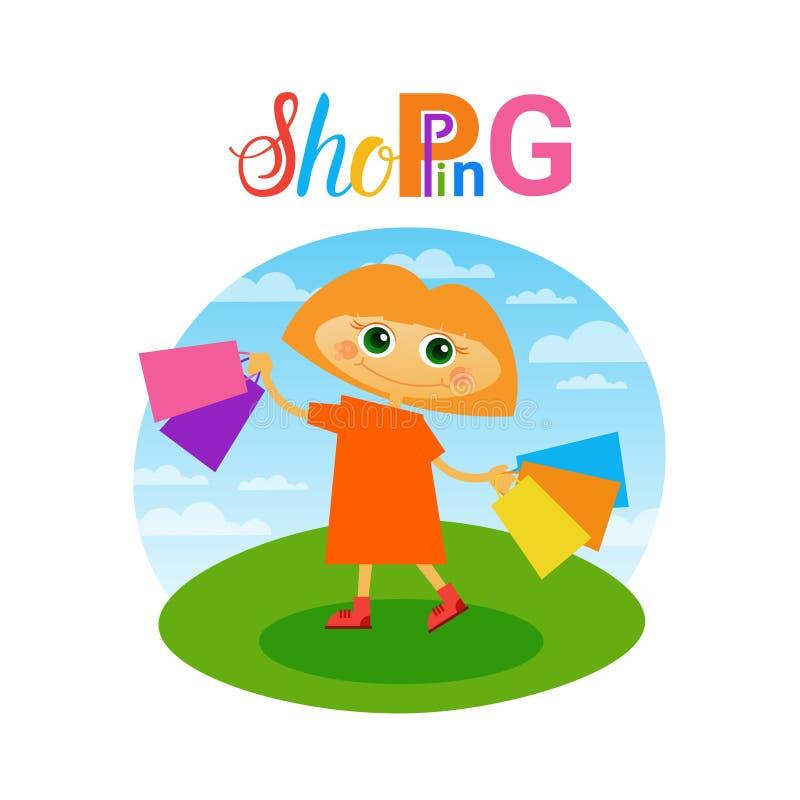För shoppingpåsar för liten flicka hållande shoppare för småbarn royaltyfri illustrationer
