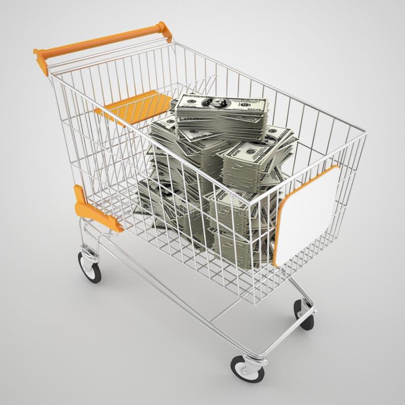 För shoppingvagn för pengar fullt begrepp royaltyfri illustrationer
