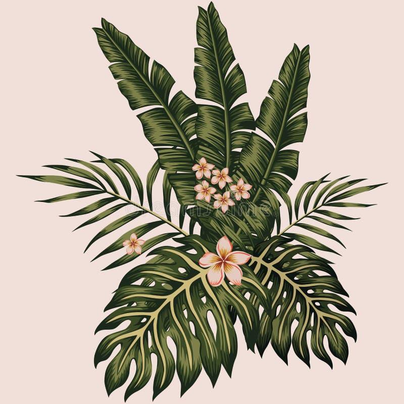 För sida- och blommasammansättning för vektor tropisk stil för hawaiibo vektor illustrationer