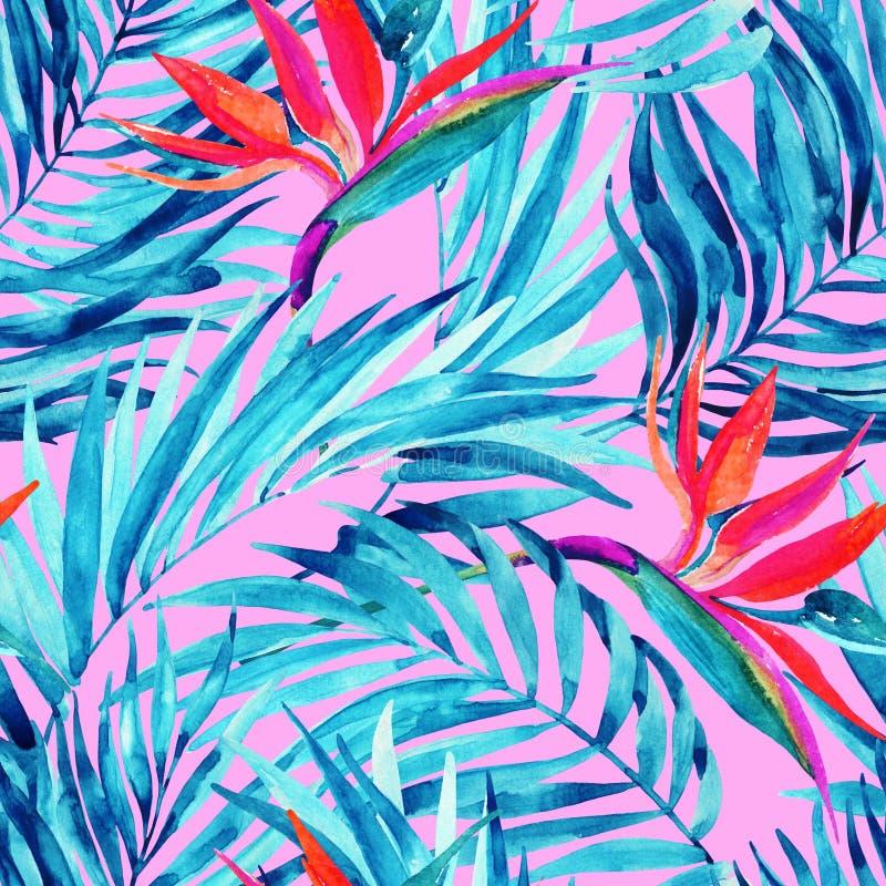 För sida- och blommasommar för vattenfärg tropisk sömlös modell vektor illustrationer