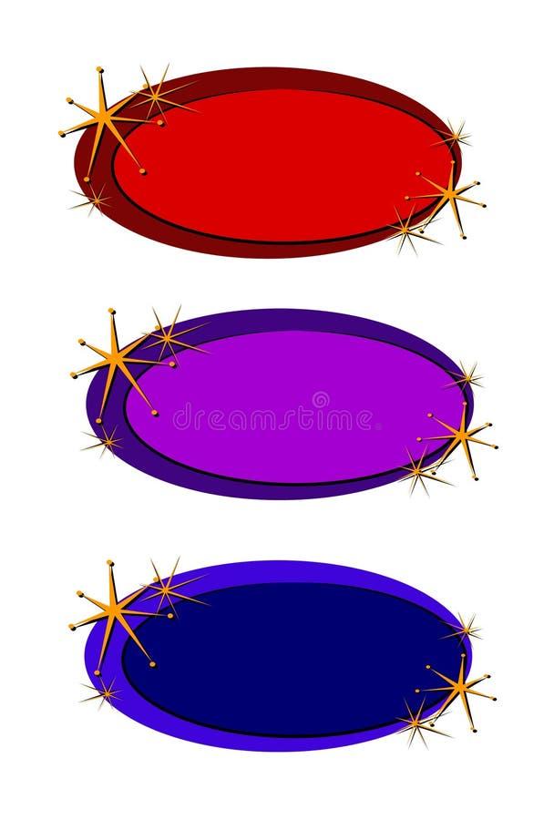 för sidastjärnor för logo oval rengöringsduk vektor illustrationer