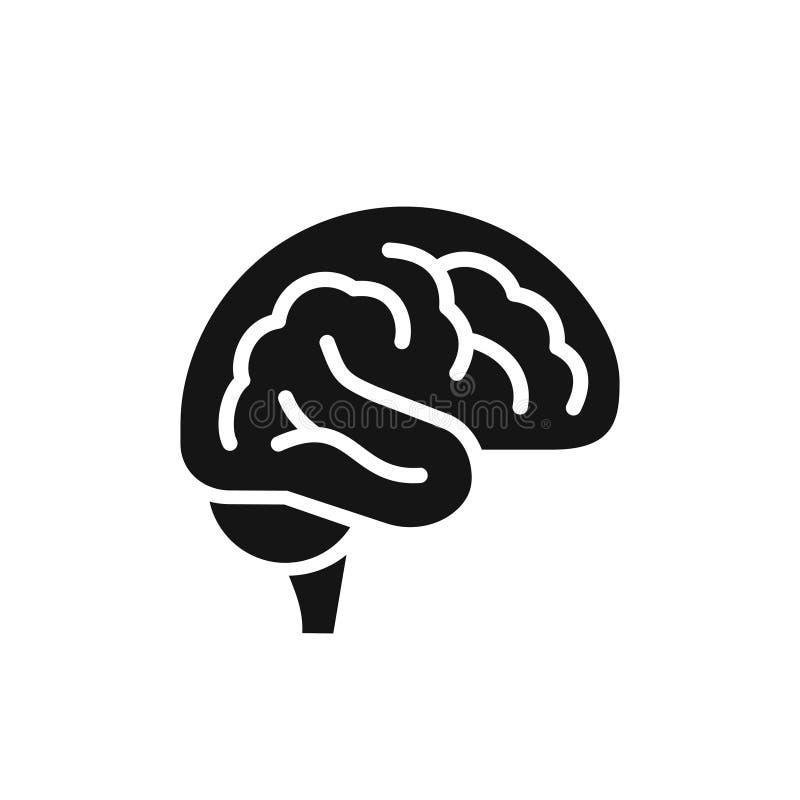 För sidosikt för hjärna enkel symbol för svart, illustration för intellektsymbolvektor vektor illustrationer