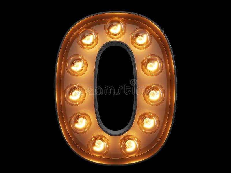 För siffraalfabet för ljus kula stilsort för tecken 0 nollogiltig stock illustrationer