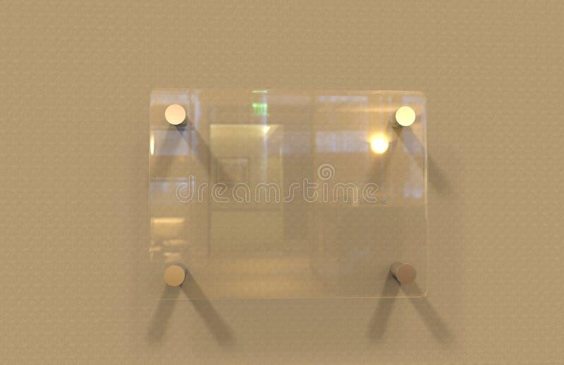 För Signageplatta för tomt genomskinligt Glass inre kontor företags åtlöje upp mallen, illustration 3D royaltyfri fotografi