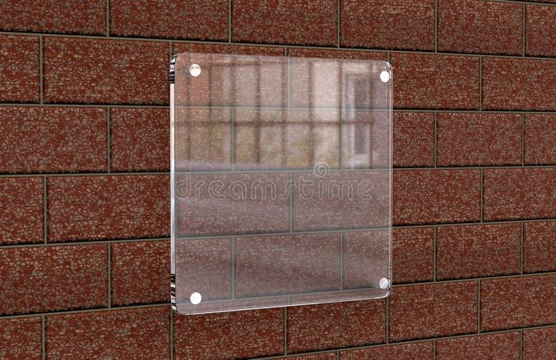 För Signageplatta för tomt genomskinligt glass inre kontor företags modell, tolkning 3d Åtlöje för känd platta för kontor upp på  royaltyfri illustrationer