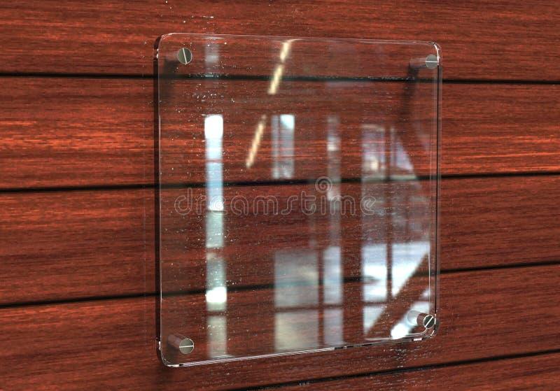 För Signageplatta för tomt genomskinligt glass inre kontor företags modell, tolkning 3d Åtlöje för känd platta för kontor upp på  royaltyfri foto