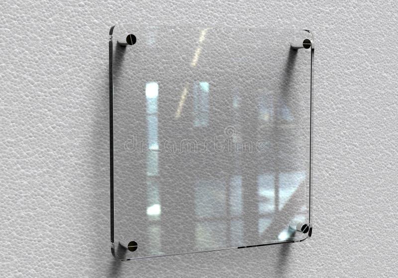 För Signageplatta för tomt genomskinligt glass inre kontor företags modell, tolkning 3d Åtlöje för känd platta för kontor upp på  stock illustrationer