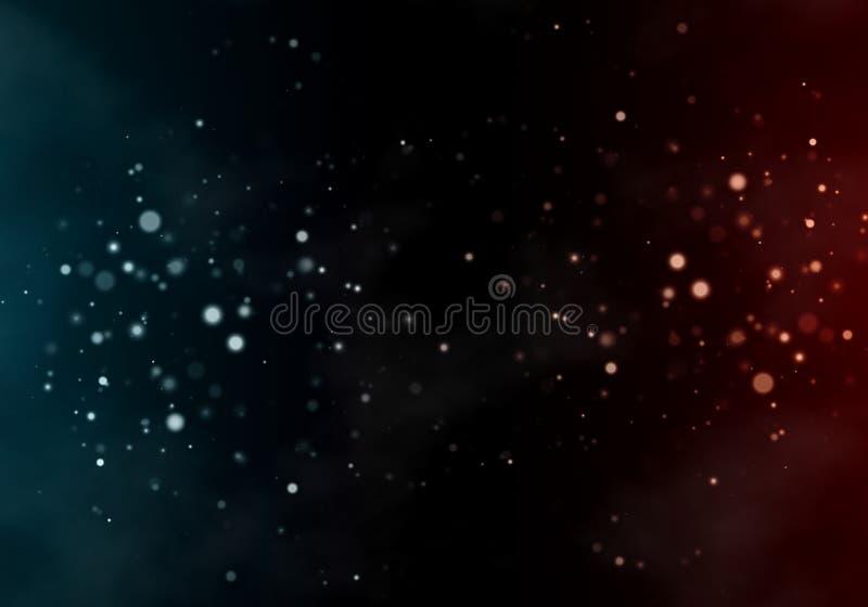 För signalbokeh för abstrakt begrepp två bakgrund Röda cirkeln för blått bubblar den kontra på varje sida vektor illustrationer