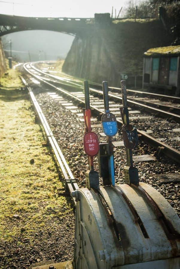För signalpunkt för tappning gamla järnväg handtag för strömbrytare royaltyfria foton