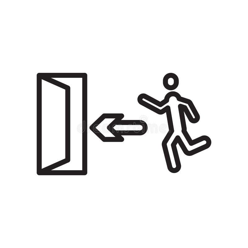 För signalsymbol för nöd- dörr som tecken och symbol för vektor isoleras på vit bakgrund, för signallogo för nöd- dörr begrepp vektor illustrationer