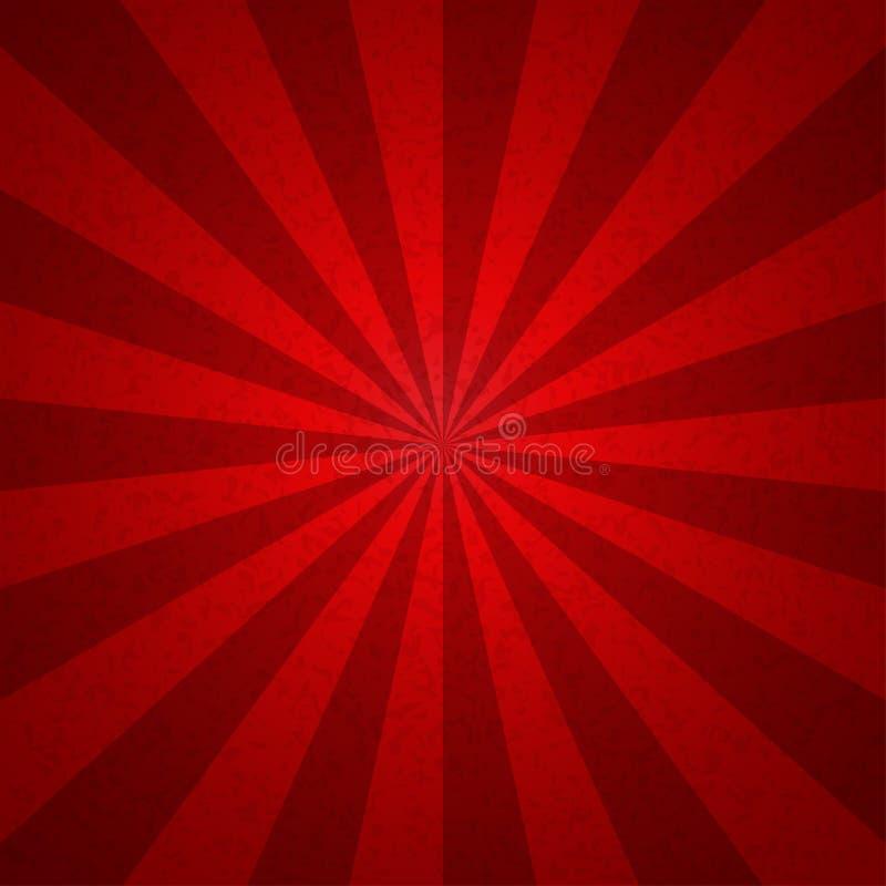 För signaltappning för Sunburst röd bakgrund för modell Vektorillustrati vektor illustrationer