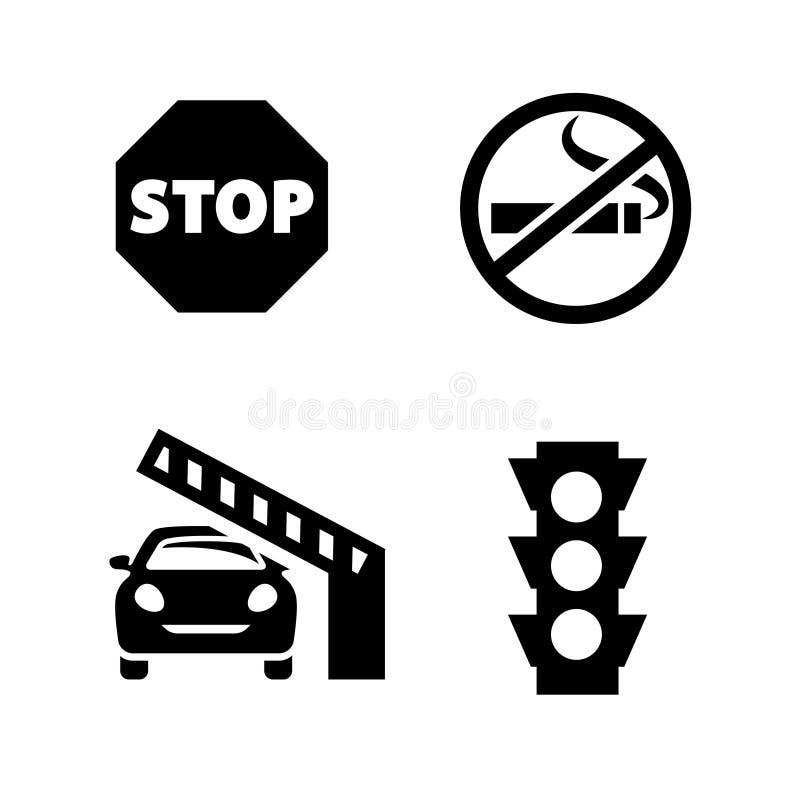För signalvektor för offentliga utrymmen uppsättning för symbol för format stock illustrationer