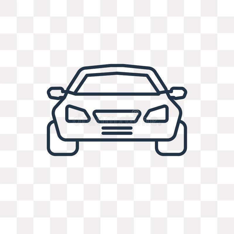 För siktsvektor för bil som frontal symbol isoleras på genomskinlig bakgrund, stock illustrationer