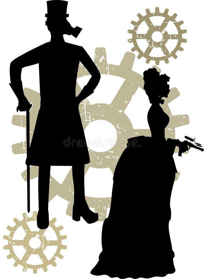 för silhouettessteampunk för kugghjul grungy victorians stock illustrationer