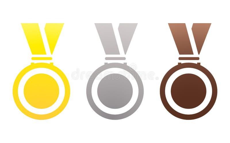 För silverbrons för medaljer guld- koppar på ett rött band på vit bakgrund vektor illustrationer