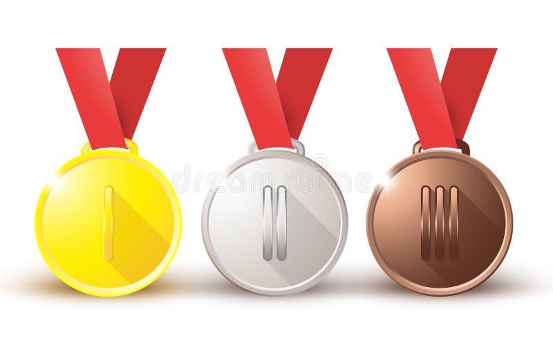 För silverbrons för medaljer guld- koppar på ett rött band på vit bakgrund stock illustrationer