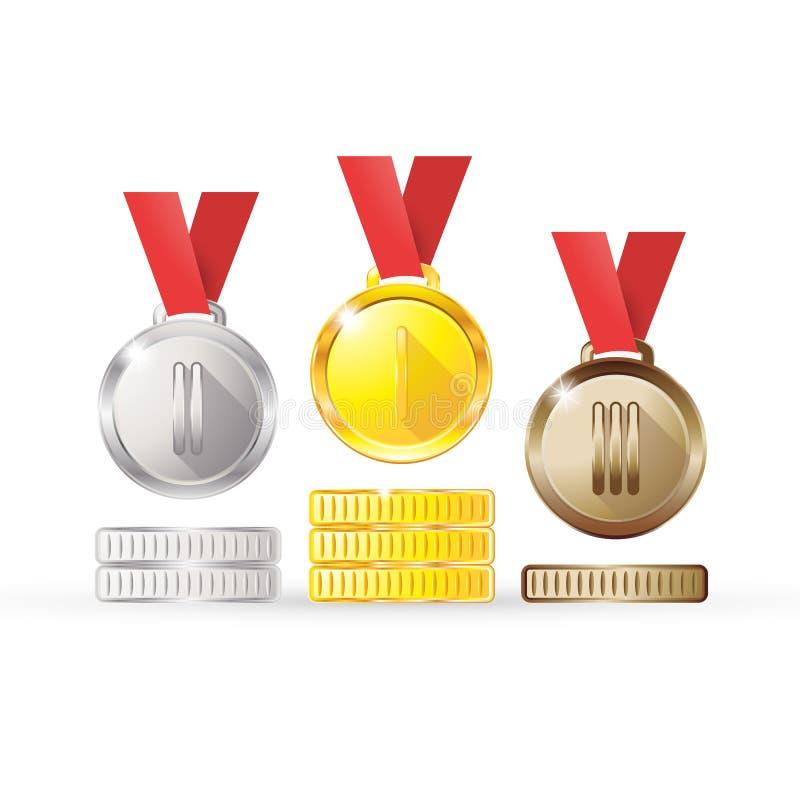För silverbrons för medaljer guld- koppar på ett rött band som isoleras på vit bakgrund vektor illustrationer