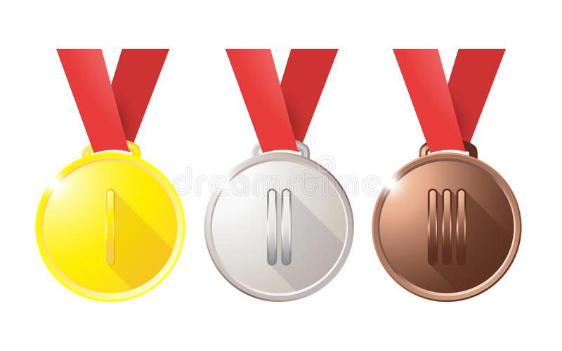 För silverbrons för medaljer guld- koppar på ett rött band som isoleras på vit bakgrund stock illustrationer