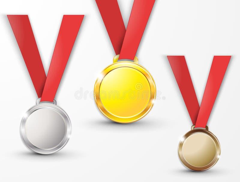 För silverbrons för medaljer guld- koppar på ett rött band som isoleras på vit bakgrund, medalj royaltyfri illustrationer