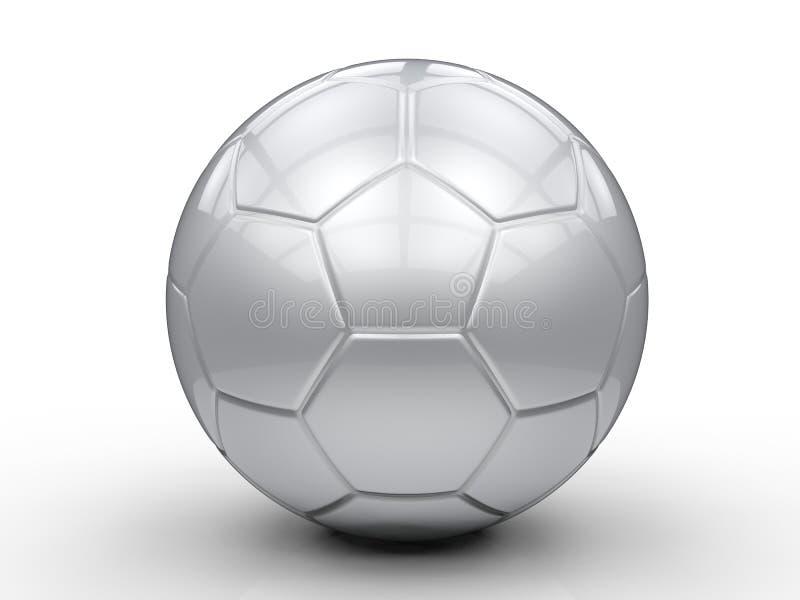 för silverfotboll för boll 3d bild isolerad white royaltyfria foton