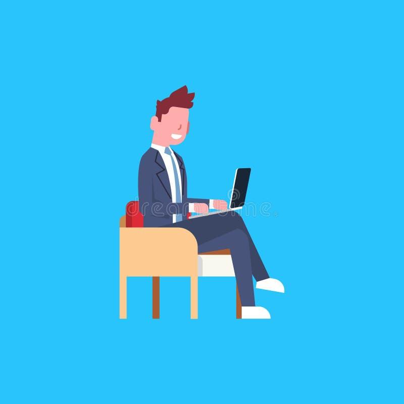 För Sit Using Laptop Computer Male för affärsman affärsman för tecken för arbetare kontor stock illustrationer