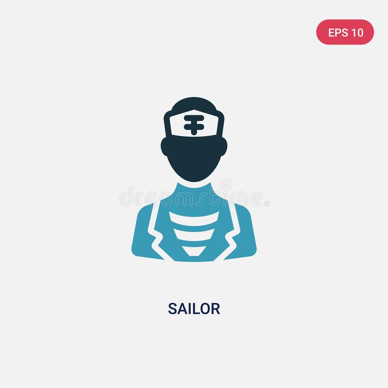 För sjömanvektor för två färg symbol från nautiskt begrepp det isolerade blåa symbolet för sjömanvektortecknet kan vara bruk för  royaltyfri illustrationer