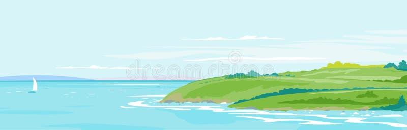För sjösidalandskap för gröna kullar bakgrund stock illustrationer