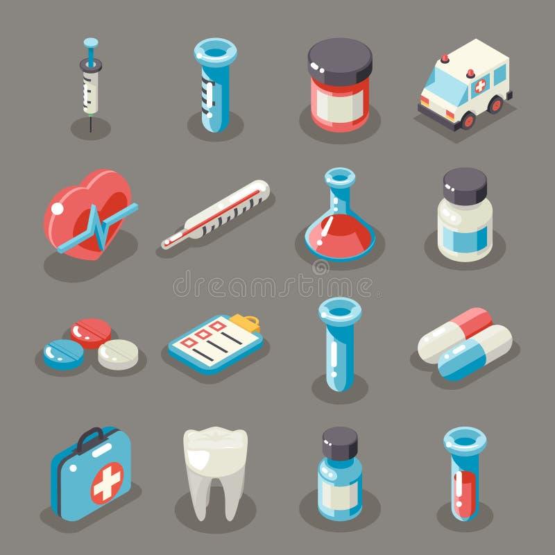 För sjukhusambulansen för det isometriska tecknet 3d ställde vård- medicinska symboler in för doktor Flat Symbol Collection för s stock illustrationer