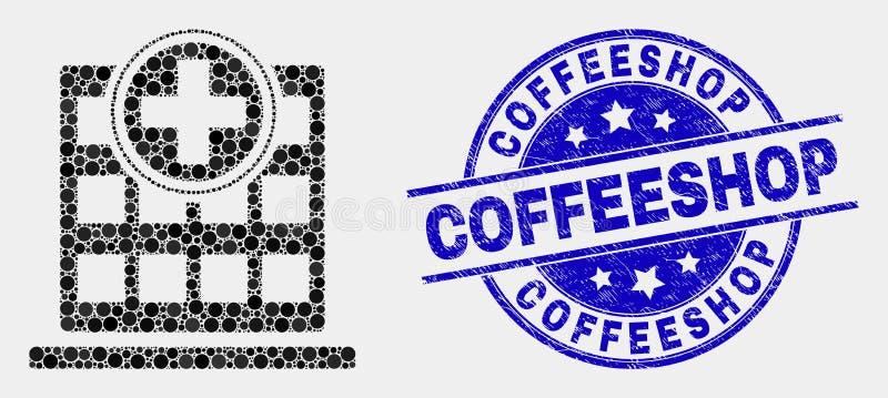 För sjukhusbyggnad för vektor prickig symbol och skrapad Coffeeshop stämpel royaltyfri illustrationer