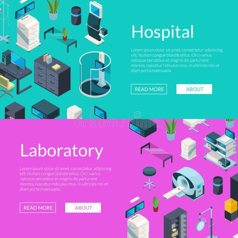 För sjukhussymboler för vektor isometrisk illustration för baner för rengöringsduk stock illustrationer