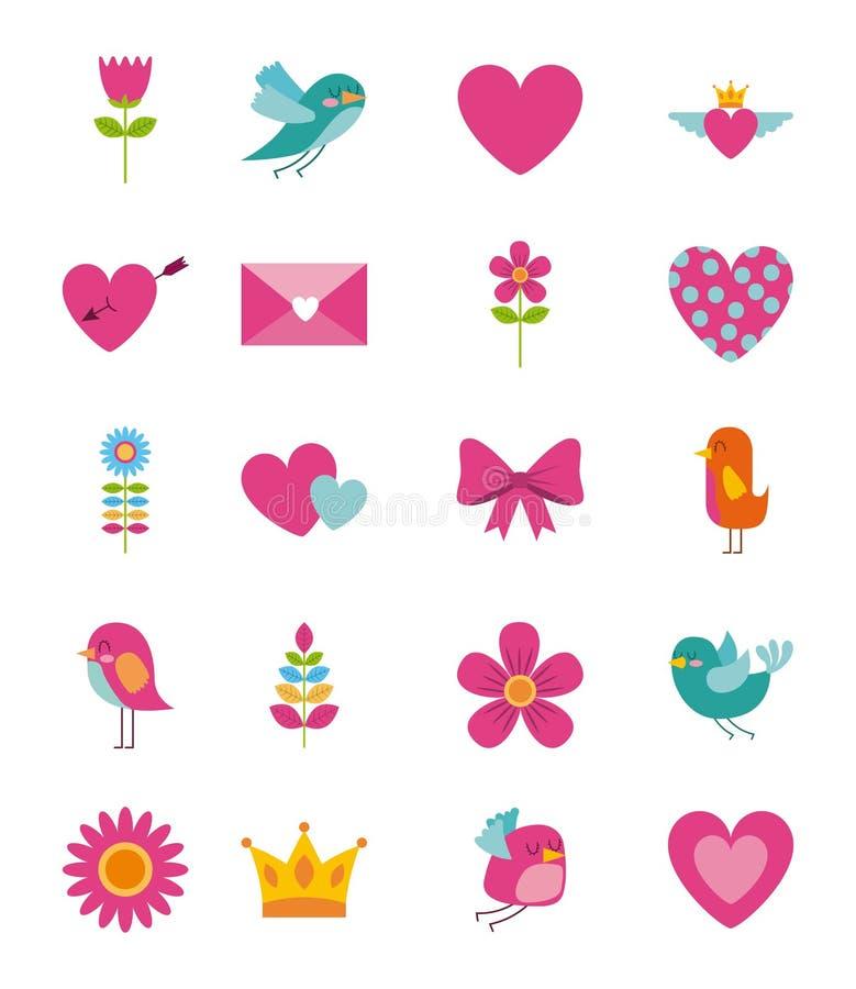 För skönhetblomma för samling gullig krona för kuvert för hjärta för fågel vektor illustrationer