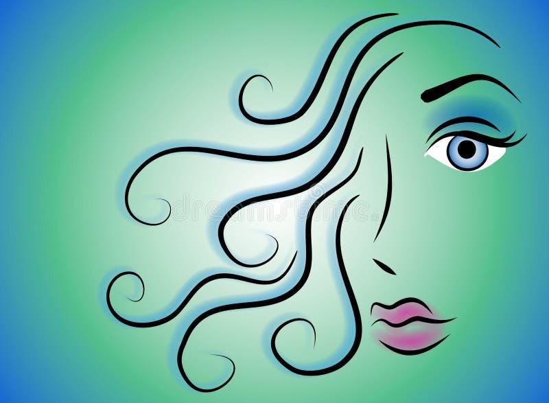 för skönhetgem för 2 konst kvinnlig för framsida stock illustrationer