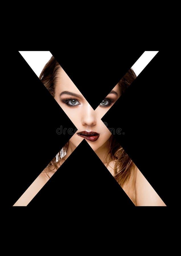 För skönhetmakeup för bokstav x stilsort för mode för flicka idérik royaltyfri fotografi