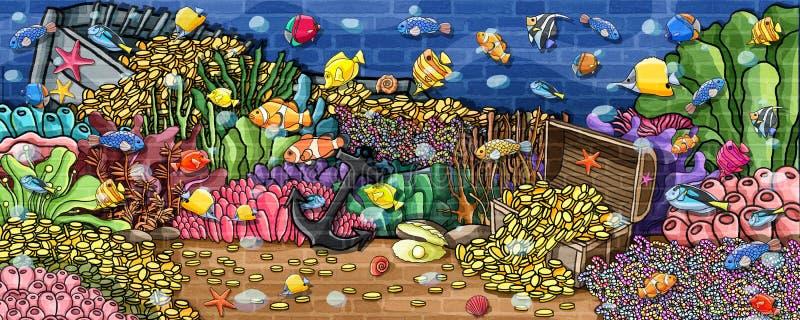 För skattvägg för djur undervattens- målarfärg stock illustrationer