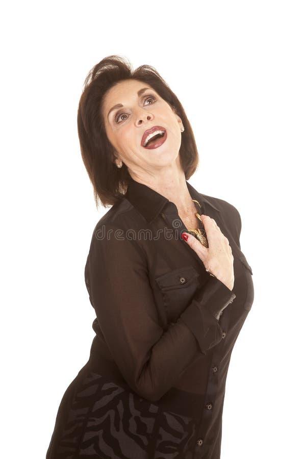 För skjortasebra för kvinna head svarta flåsanden tillbaka arkivbilder