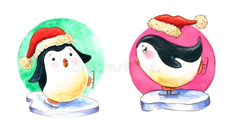 För skridskoåkningvattenfärg för två pingvin illustration stock illustrationer