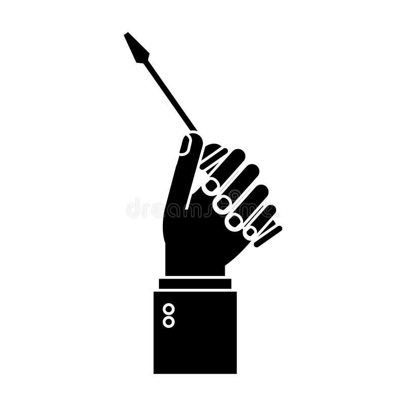 För skruvmejselhjälpmedel för hand hållande pictogram för reparation stock illustrationer