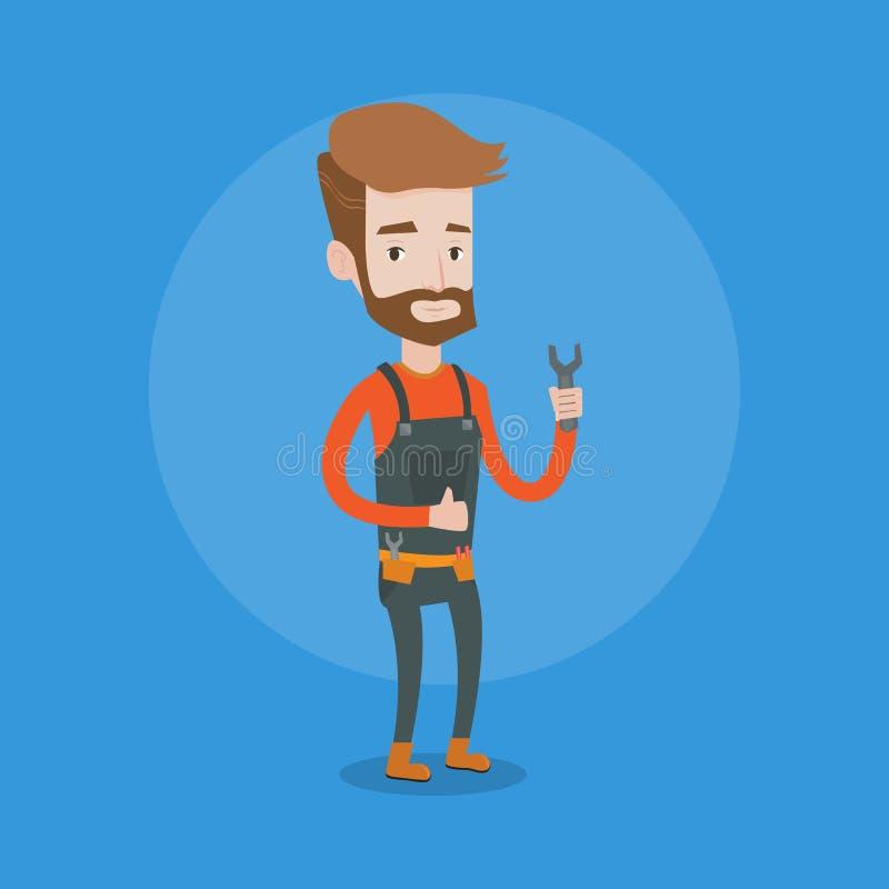 För skruvnyckelvektor för Repairman hållande illustration vektor illustrationer