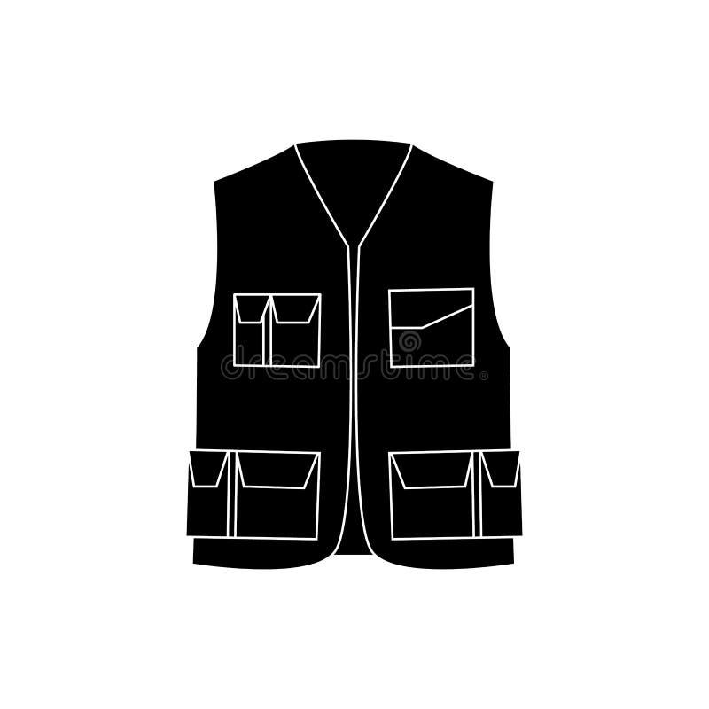 För skyddsarbetare för industriell säkerhet väst med den svartvita symbolen för fack royaltyfri illustrationer