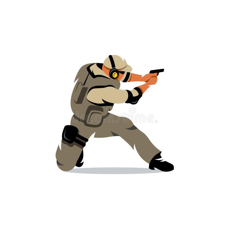 För skyttekrigare för vektor taktisk illustration för tecknad film vektor illustrationer
