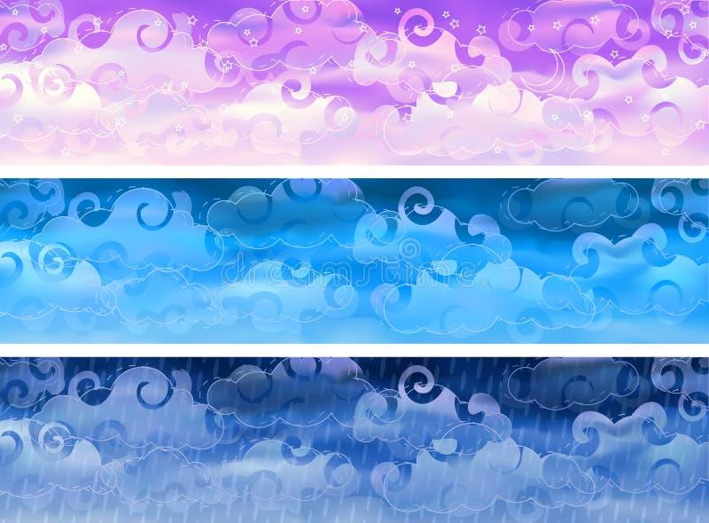 för skyvektor för baner molnigt väder stock illustrationer