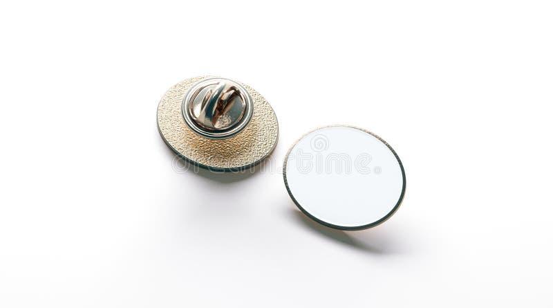 För slagemblem för tom vit ellips beklär guld- åtlöje upp, tillbaka arkivbild