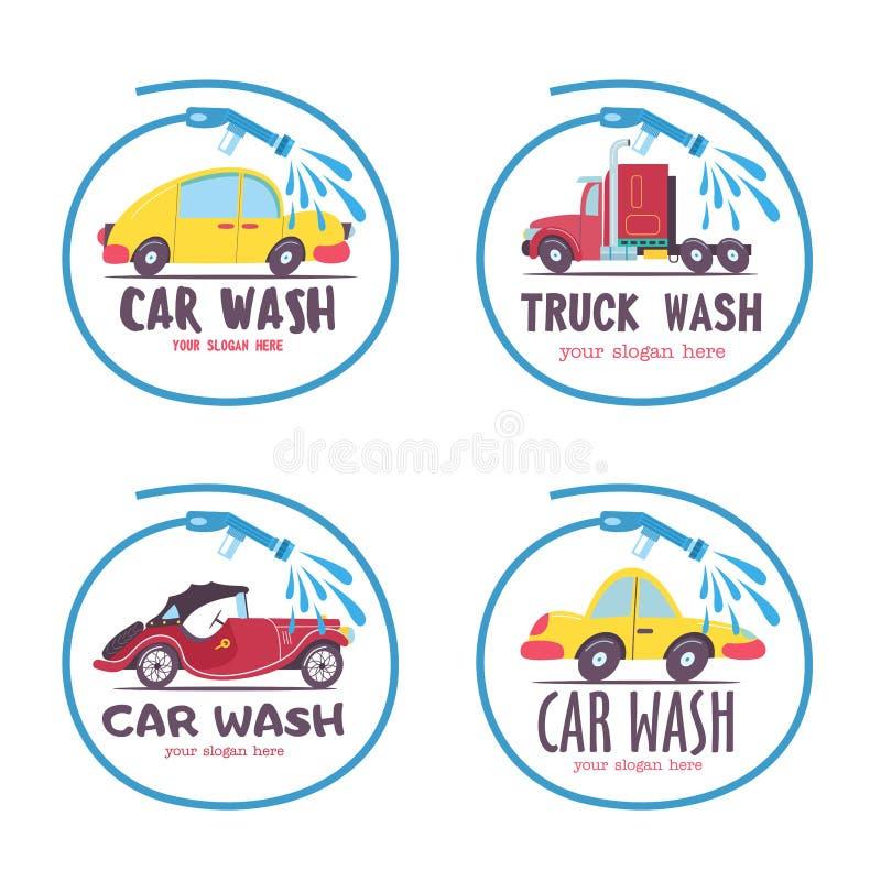 för slangmaskin för bil clean wash för svamp Bil i tecknad filmstil på biltvätten emblem vektor illustrationer
