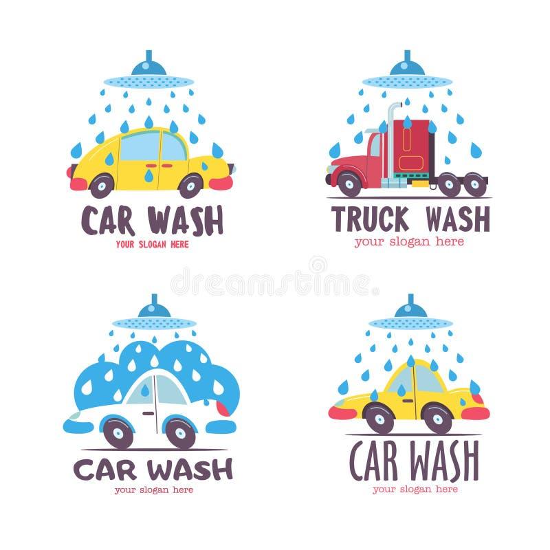 för slangmaskin för bil clean wash för svamp Bil i tecknad filmstil på biltvätten emblem stock illustrationer