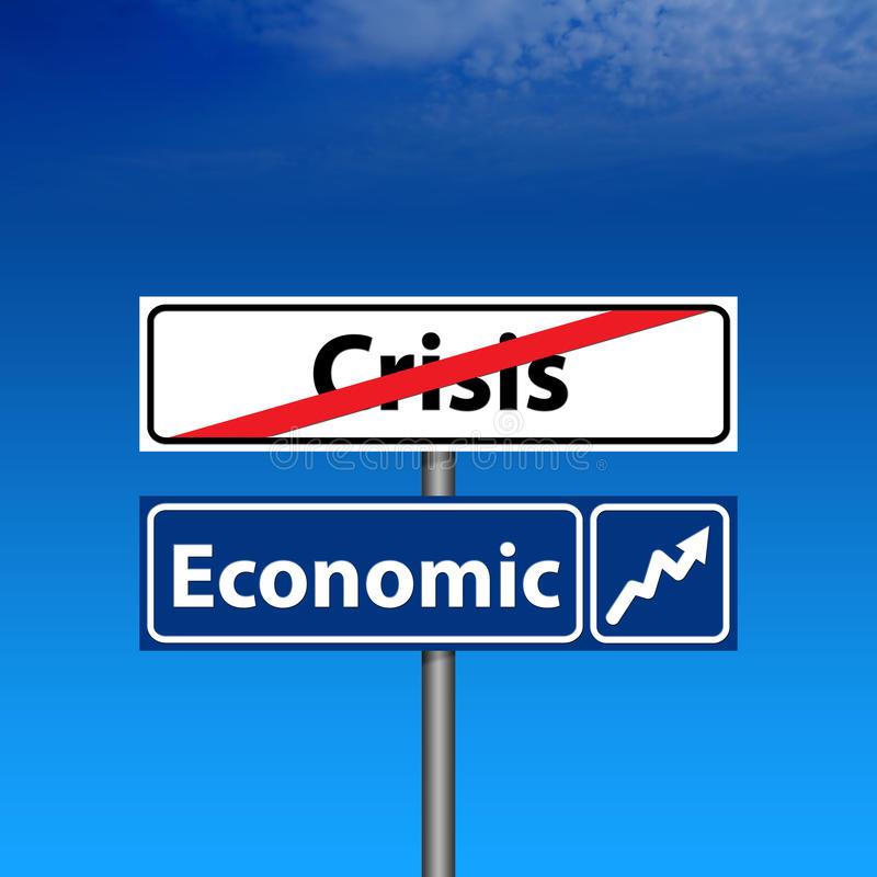 för slutåterställning för kris ekonomiskt vägmärke royaltyfri illustrationer
