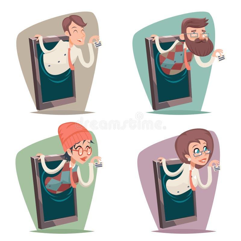 För Smart för gullig kvinnlig flicka för presentation för affärsmanaffärskvinnaAgent Online Mobile telefon Hipster för Geek manli vektor illustrationer